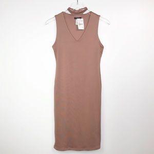 BLVD Mauve Choker Bodycon Dress Size Medium